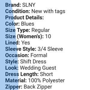 SLNY MSRP$80 Formal Chiffon Shift dress